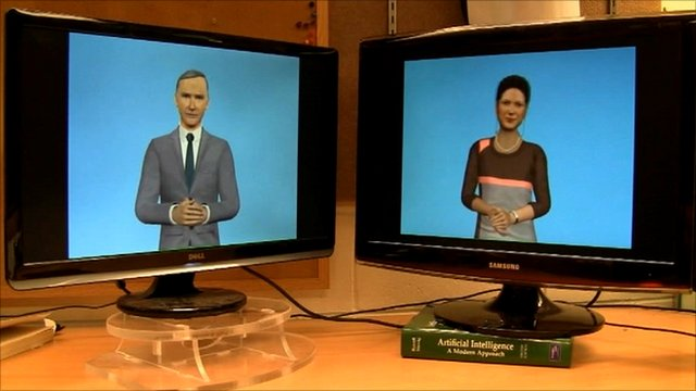 Avatars for two artificial intelligence robots