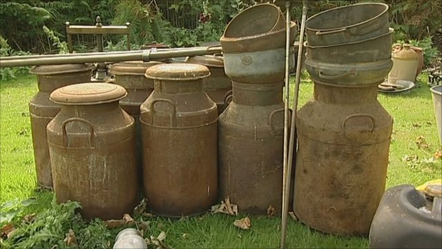 Metal urns at a Derbyshire heritage centre that are being sold at auction