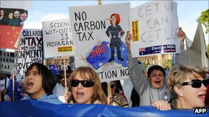 protestos contra imposto de CO2 na australia