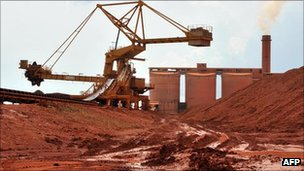 Bauxite is processed at a factory in Guinea (archive shot)