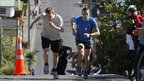 Glen Ballam, right runs up Baldwin Street in Dunedin, New Zealand, with Nick Abraham - 18 September 2011