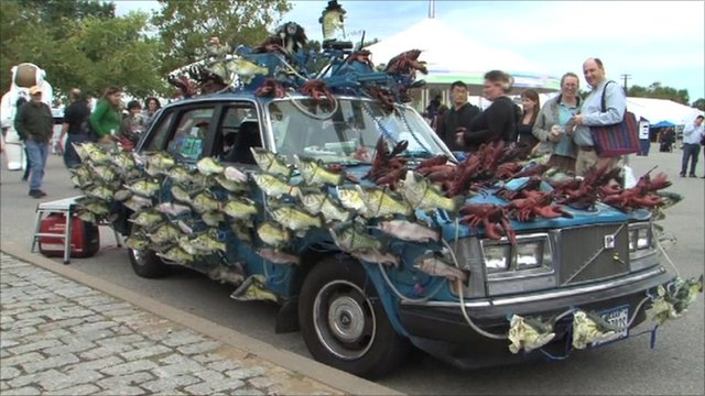 Car fitted with electric singing fish and lobsters