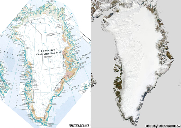 Map and satellite radar image