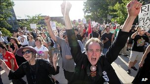 Union supporters protest against an anti-collective bargaining measures of