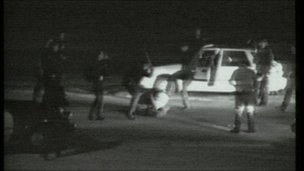 A still from the beating of Rodney Kind