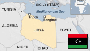 Map of Libya with pre-Gaddafi era flag