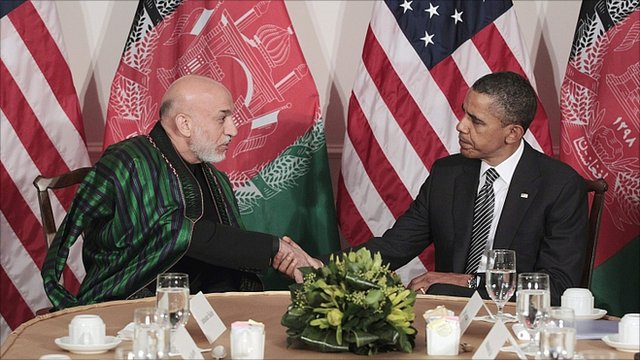 Hamid Karzai and Barack Obama