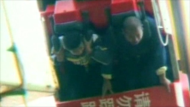 Father and son trapped in a rollercoaster
