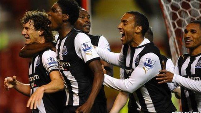 Newcastle's Fabricio Coloccini celebrates his winning goal against Nottingham Forest