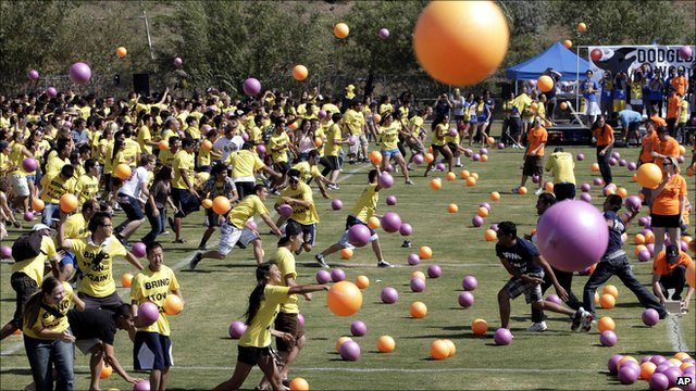 Pupils taking part in the dodgeball game