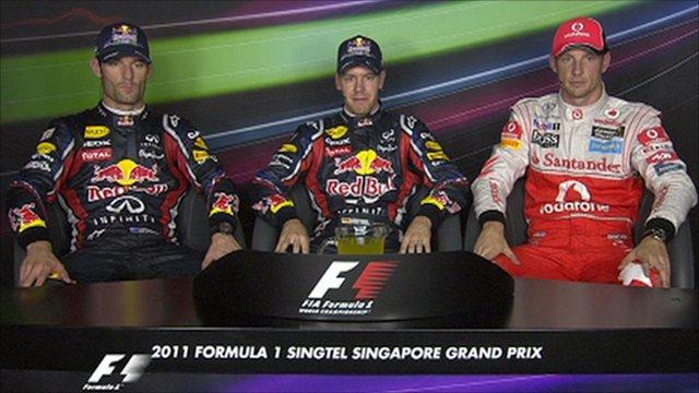 Mark Webber, Sebastian Vettel and Jenson Button