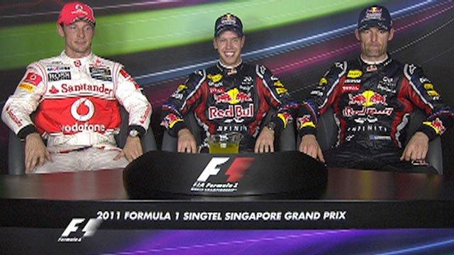 Jenson Button, Sebastian Vettel and Mark Webber