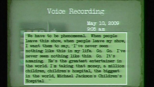 Transcript of Michael Jackson voice recording played in court
