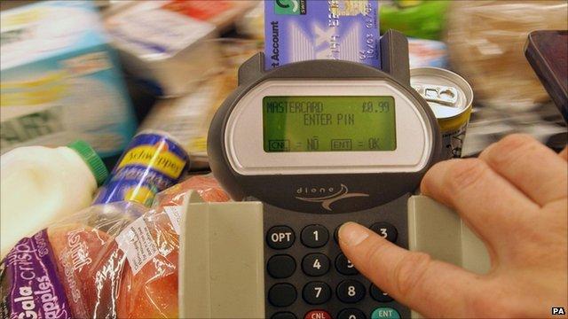 man paying for shopping
