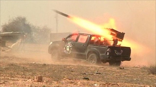 Rocket being launched from a truck
