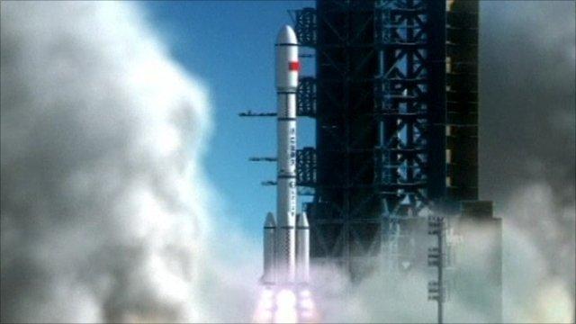 CCTV animation of Tiangong-1 launch.