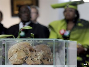 Some of the African skulls on display in Berlin, 29 September