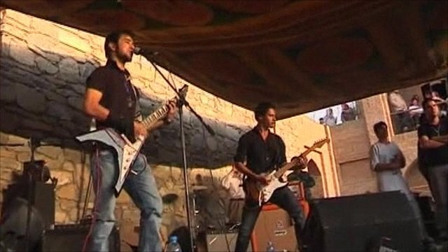 Band playing at Sound Central festival in Kabul