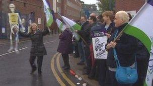 Unison demonstrators outside a hospital