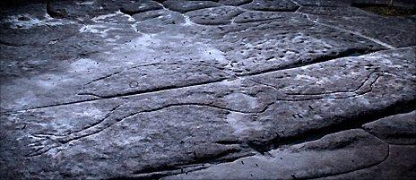 Emu carved in rock