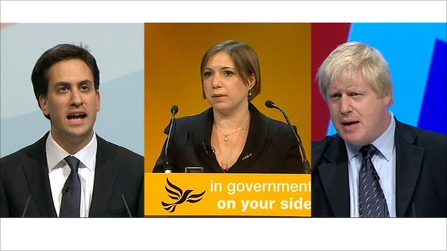 Miliband, Teather and Johnson