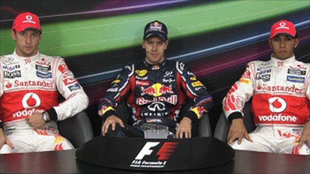 Sebastian Vettel, Jenson Button and Lewis Hamilton
