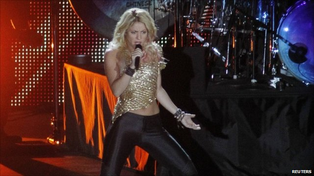 Shakira performing at the stadium