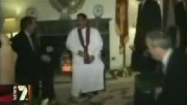 Liam Fox, Sri Lankan president Mahinda Rajapaksa, and Adam Werritty