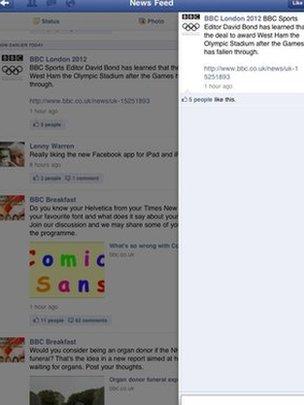 Facebook for iPad, screen grab