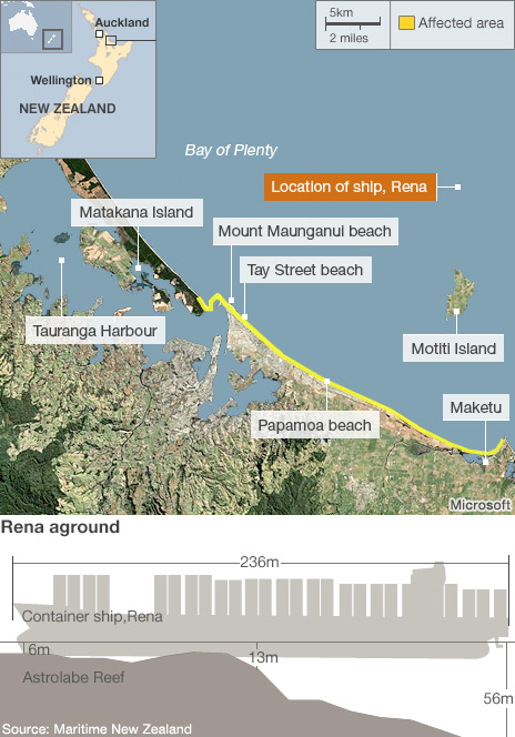 Map showing Bay of Plenty and oil affected beaches