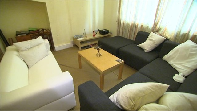 Sofas inside flat where Jo Yeates lived