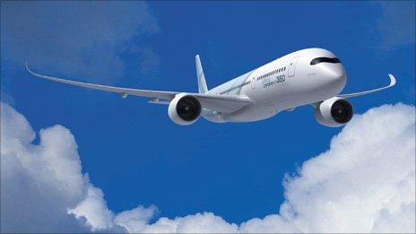 Darlun cyfrifiadur o'r Airbus A350 yn yr awyr