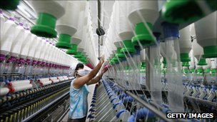 Worker in a yarn factory in China