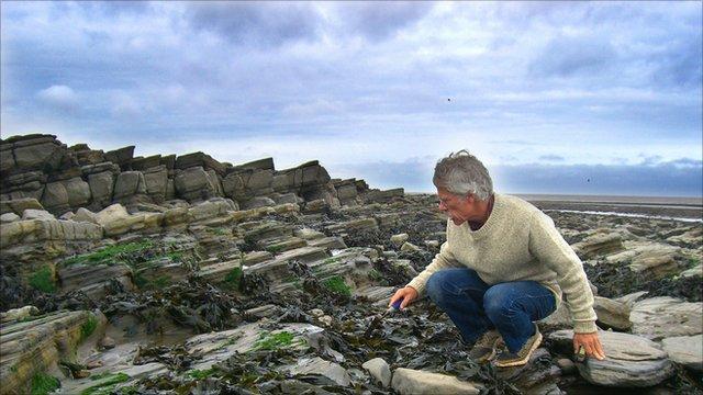 Paul Olsen on foreshore of St Audrie's Bay in Somerset