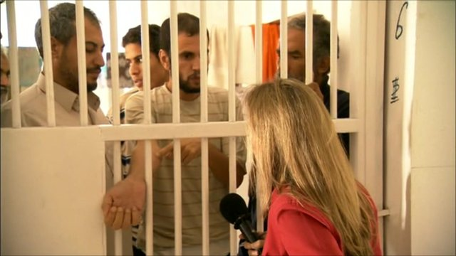 Prisoners speak to the BBC's Caroline Hawley