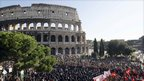 Protesters gather at the Colosseum in Rome, 15 October