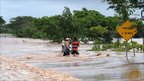 A flooded road in El Manglar, Choluteca department, 150km south of the Honduran capital Tegucigalpa, on October 16