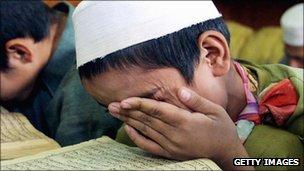 Boy in a madrassa