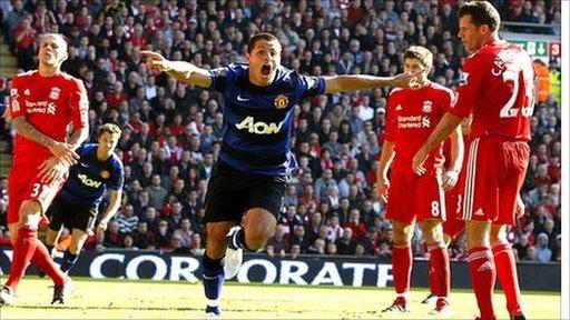 Javier Hernandez scores Manchester United's equaliser at Anfield