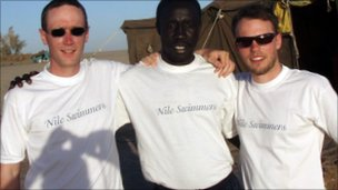 Project founders Dan Graham (left) and Tom Mecrow (right) with participant turned trainer Emmanual