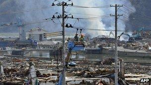 Devastation in Miyagi prefecture in Japan