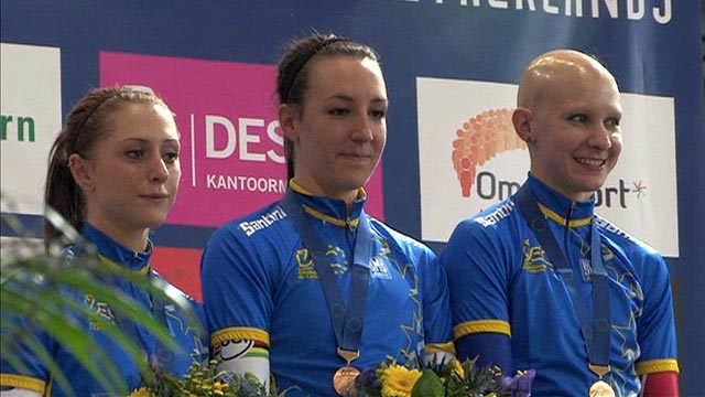 Great Britain's female team pursuiters (from left) Joanna Rowsell, Dani King and Laura Trott
