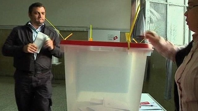 Voter at a polling station