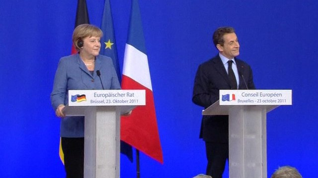 Chancellor Merkel and President Sarkozy at the EU summit