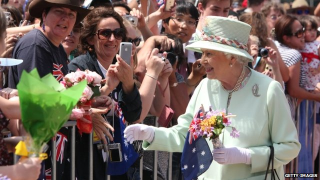 The Queen meeting people in Brisbane