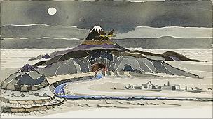 A JRR Tolkein watercolour called Smaug flies round the mountain