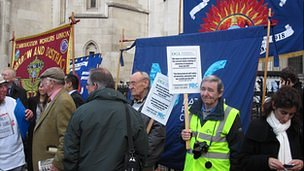 Trade union members protest outside High Court hearing, 25th October 2011