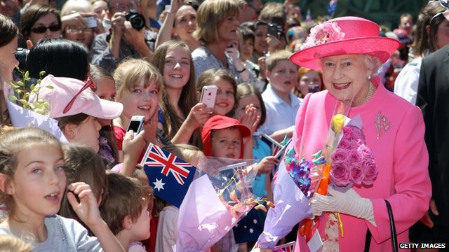 The Queen meets well-wishers in Federation Square, Melbourne