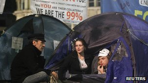 Demonstrators in their tents at the St Paul's protest camp