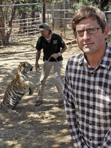 In Oklahoma, Louis met tiger Sarg and owner Joe Exotic, who runs an animal park